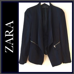 Zara Black and Blue Striped Blazer with Zippers